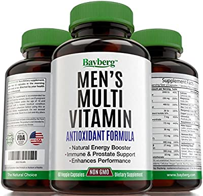 Men's Multivitamin. Antioxidant Energy Supplement with Minerals. Vitamin A C D E + Vitamins B1 B2 B3 B5 B6 B12 + Calcium, Zinc, Biotin and Folic Acid. Anti Aging, Immune & Prostate Support