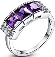 Veunora 925 Sterling Silver Created Princess Cut Amethyst Filled 3-Stone Band Ring