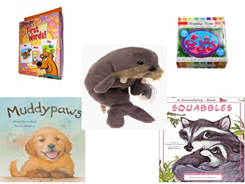 Children's Gift Bundle - Ages 3-5 [5 Piece] - Scooby-Doo. First Words Card Game - Create Your Own Princess Stepping Stone Kit Toy - Ty Beanie Baby - Jolly the (Scooby Doo 3 Piece)