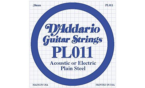 D'Addario 10-Pack Plain Steel Single Gauge Acoustic or Electric Guitar String 10 in.011