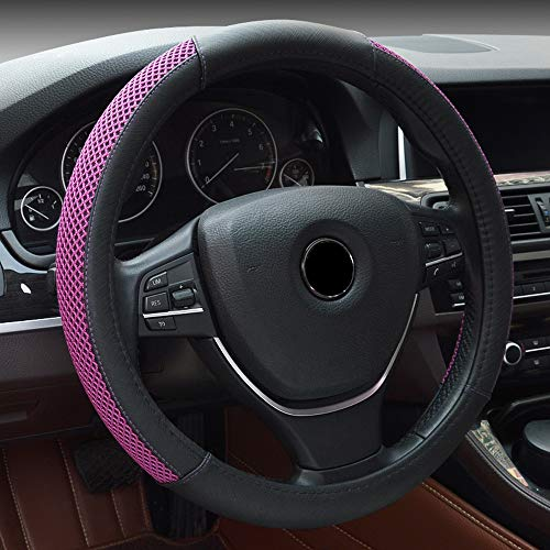 (BAUZEIT Universal Car Steering Wheel Covers 15 inch/37-38cm Protector - Heavy Duty Microfiber Leather Anti Slip Automotive Cover Protection for Auto SUV Vehicles Truck Lorry Van,Black & Purple)