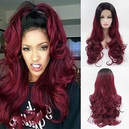 Party Queen Peluca de pelo sintético de aspecto natural, color rojo vino, sin pegamento, 2 tonos, raíces negras, pelo largo ondulado, para mujer, ...