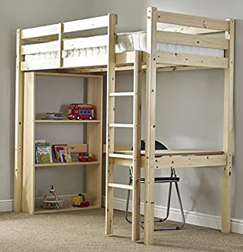 Study Bunk Bed 3ft Single Work Station Bunkbed With Table Chair