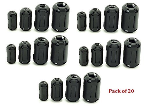 AUCH 20Pcs Clip-on Ferrite Ring Core Black RFI EMI Noise Suppressor Cable Clip for 5mm/7mm/9mm/13mm Diameter Cable
