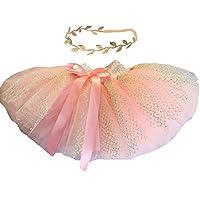 BBVESTIDO Falda de tutú rosa para bebé con tul dorado y tocado para la primera fiesta (nueva PG)