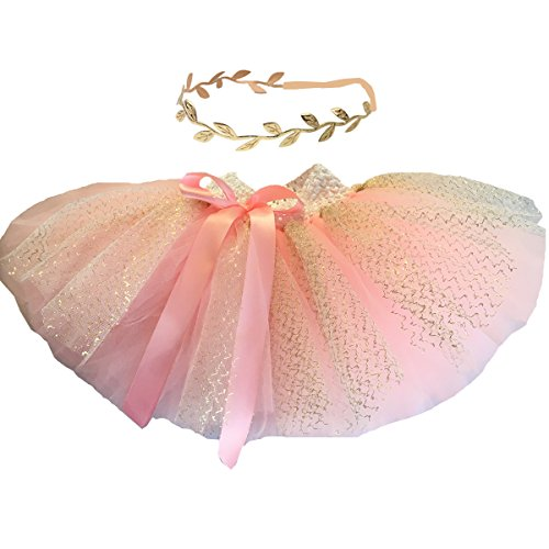 BBVESTIDO Baby Girls Pink Tutu Skirt With Gold Tulle and Headdress For 1st Party (New PG)]()