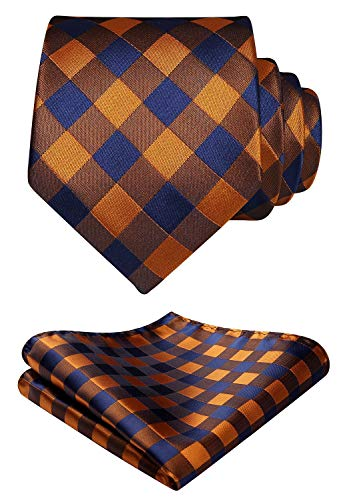 HISDERN Men's Plaid Tie Handkerchief Formal Checked Necktie & Pocket Square Set