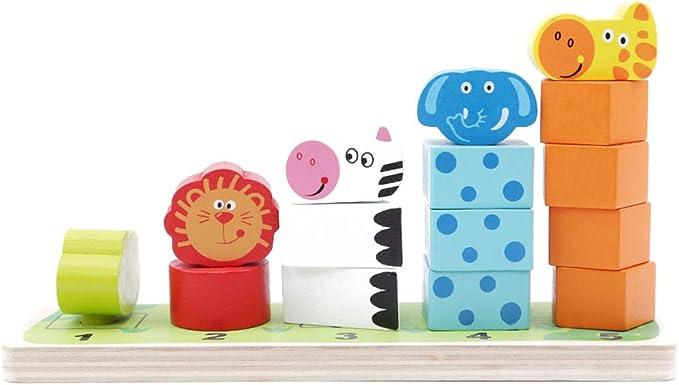 JOOFFF Animales Jenga Color Animales Montaje Puzzle Bloque León Rana Jirafa Zebra Bloque de Madera Juguete para Niños Juguete de aprendizaje para guardería: Amazon.es: Bricolaje y herramientas