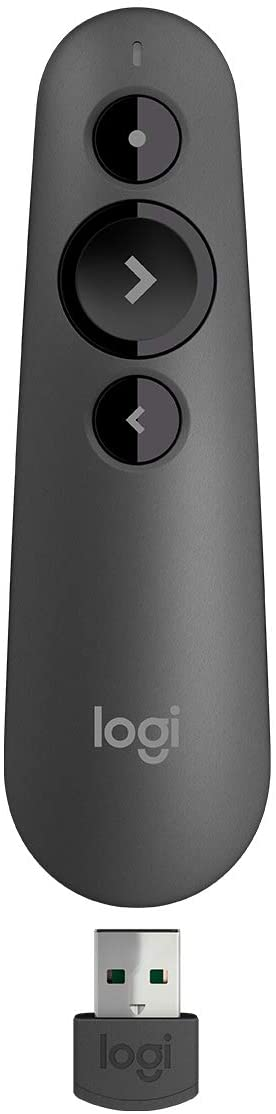 Logitech R500 Laser Presentation Remote Clicker with Dual Connectivity Bluetooth or USB for Powerpoint, Keynote, Google Slides, Wireless Presenter