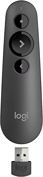 Logitech R500 Laser Presentation Remote Clicker with Dual Connectivity Bluetooth or