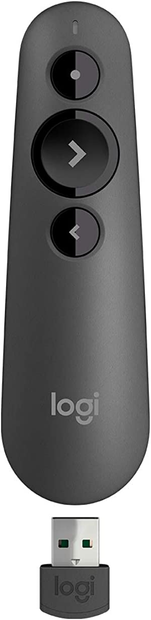 Logitech R500 Laser Presentation Remote Clicker with Dual Connectivity Bluetooth or USB for Powerpoint, Keynote, Google Slides, Wireless Presenter - Black