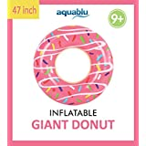 """aquablu Inflatable Inner Tube Cool Summer Swim Ring & Lounge Float for Pool Beach Lake River & More 47"""" Diameter Sprinkle Donut Design Perfect for Kids Teens & Adults Ages 9+"""