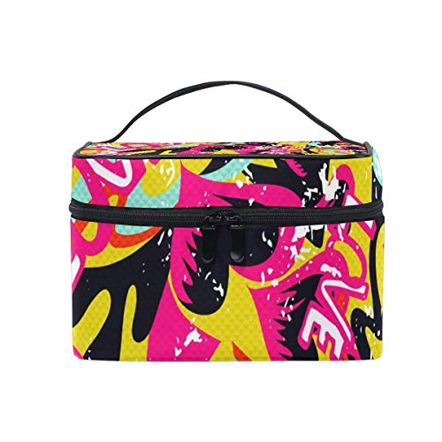 Abstract Graffiti Hip Hop Street Art Heart Love Portable Cosmetic Toiletry Bags Large Makeup Travel Bags with Handle 9'' by All agree