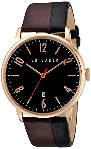 Ted Baker Men's'Modern Visual' Quartz Stainless Steel and Leather Dress Watch, Color:Brown (Model: 10030756)