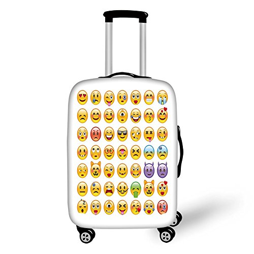 Travel Luggage Cover Suitcase Protector,Emoji,Set of Emoticons with Various Expressions Alien Vomiting Beaten Up in Love Vampire Decorative,Multicolor,for Travel by iPrint