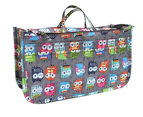 Owl Gift Bags (Cosmetic Bag for Women Cute Printing 14 Pockets Expandable Makeup Organizer Purse with Handles)