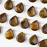 Yellow Tiger Eye Beads 12x15mm Smooth top-drilled teardrop - 8 Inch Strand
