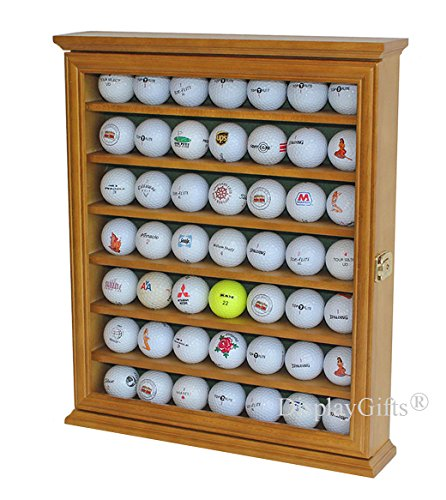 49 Golf Ball Display Case Cabinet Wall Rack Holder w/98% UV Protection Lockable (OAK)