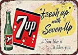 Fresh Up With 7-Up Vintage Look Reproduction Metal Tin Sign 12X18 Inches