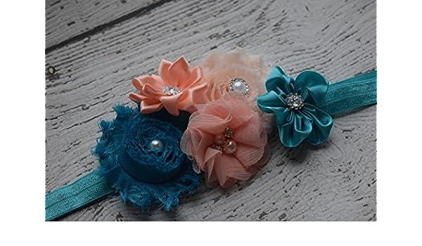 433bac437 Amazon.com  Teal peach Baby Headband