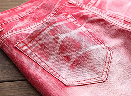 Cómodo Vaqueros Rot De Pantalones Color Casuales Clásicos Fit 5 Battercake Vintage Hombres Mezclilla Rectos Stonewashed Denim Slim vCwq7