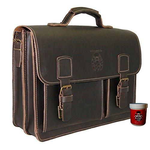 BARON of MALTZAHN Briefcase - Business bag FARADAY brown leather - Made in Germany - leather care included