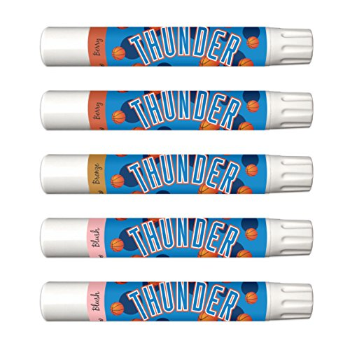 - 10% OFF—Oklahoma City Thunder 5-Piece Shimmer Lip Balm Set. 3 Different Shades—Add That Pop of Color: Blush, Bronze, Berry. NBA Gifts for Mother's Day, Easter, Stocking Stuffers, Birthdays.