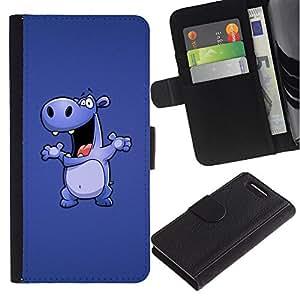 Ihec-Tech / Flip PU Cuero Cover Case para Sony Xperia Z1 Compact D5503 - Happy Purple Hippo