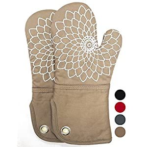 Heat Resistant Kitchen Oven Mitts With Non-Slip Silicone Printed, Set Of 2 Oven Gloves for BBQ cooking baking, Grilling, Barbecue,microwave, Machine Washable.(Khaki)