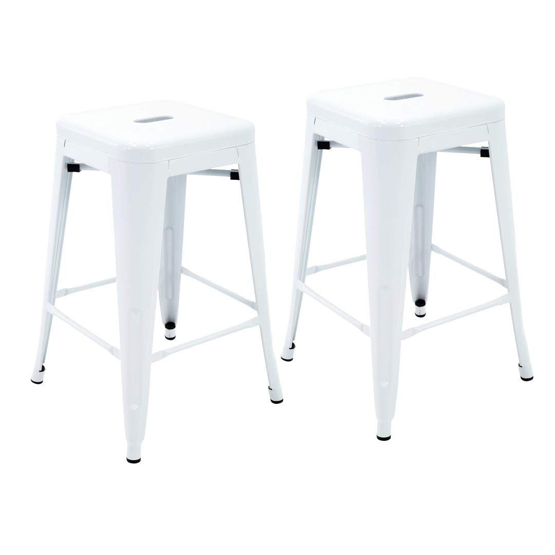 Porthos Home ZFC002B WHT Stackable Indoor & Outdoor Metal Patio Counter, 24'' Seat Height (Set of 2) Bar Stools, One Size, White