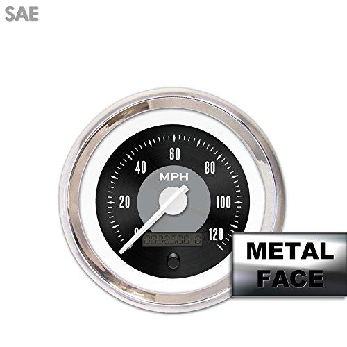 Speedometer Gauge - SAE American Classic Black II, White Modern Needles, Chrome Trim Rings, Style Kit DIY Install Aurora Instruments GAR26ZEXHABCD Speedometer Gauge