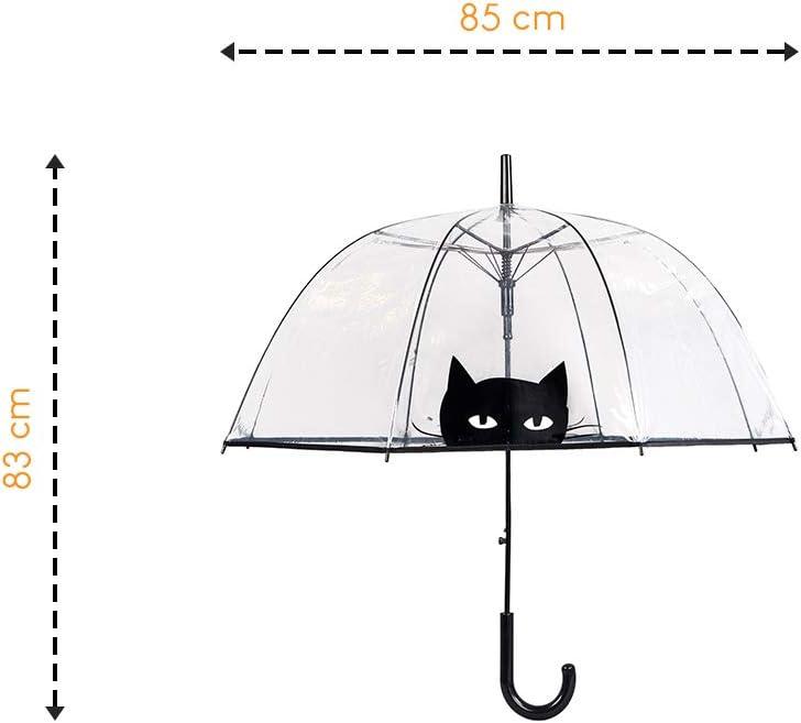 Large Protection avec Diam/ètre 85cm Parapluie Cloche//D/ôme Transparent pour Femme Susino R/ésistant au Vent Syst/ème douverture Automatique Chat