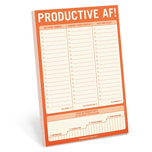 Knock Knock Productive AF! Pad, To Do List Note Pad, 6 x 9-inches