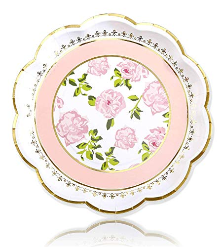 Kate Aspen Floral Paper Plates, Disposable Party Plates for Birthday & Tea Party, Baby Shower, Wedding and Anniversary, 9 Inch (Pink, 4 Set of 8, 32 Pcs)