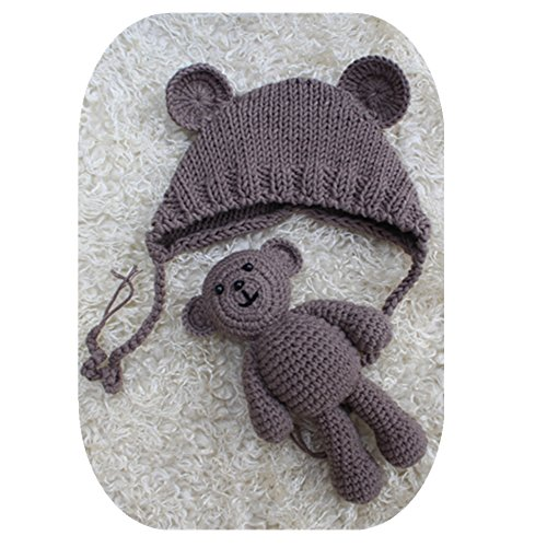 Pinbo Newborn Baby Photography Prop Bear Hat Beanie with Bear Dolls Accessories - Brown Baby Beanie