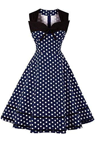 MisShow Robe Femme Vintage Imprimée à Pois Mi Longue Elégante Style Audrey Hepburn sans Manche Col Cœur Swing en Coton