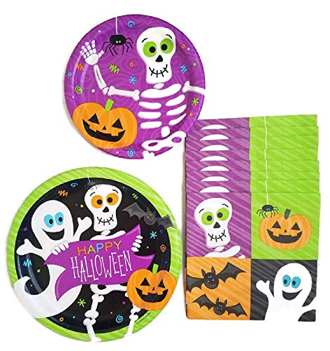 Halloween Party Supplies Paper Plate and Napkin Bundle of 3 - Service for 8 -
