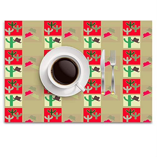 POGResdx Western Cowboy Pattern Placemat Heat-Resistant Washable Table Place Mats for Kitchen Dining Table Decoration 14.8 x 9.9 inch