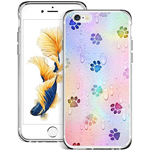 Beemars Customized Colorful Paw Print Case for iPhone 6s 6, Clear Crystal Protective Anti-Slip Bumper iPhone 6s 6 Phone Case