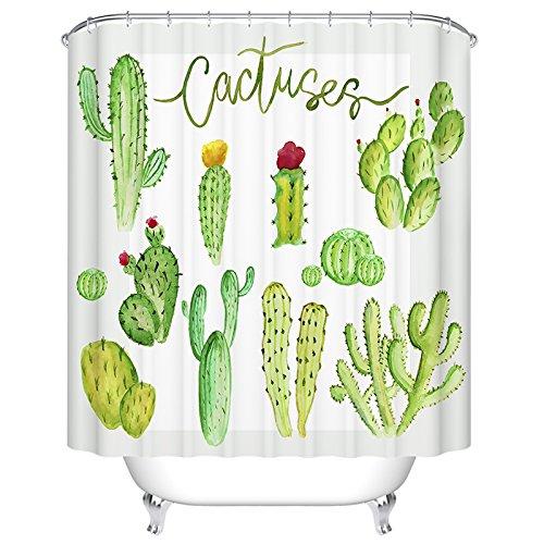 Ormis Dessin animé Cactus Motif rideau de douche Mildiou résistant imperméable à l'eau Tissu de polyester Rideau de douche de salle de bain avec ensemble de crochets, 72: X 72 72: X 72: Deli