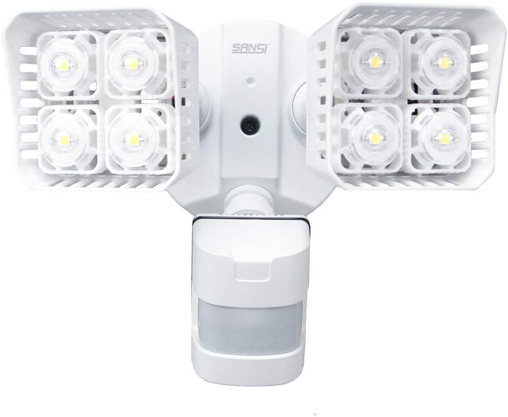 SANSI LED Security Motion Sensor Outdoor Lights, 30W 250W Incandescent Equivalent 3400lm, 5000K Daylight, Waterproof Flood Light, ETL Listed, White