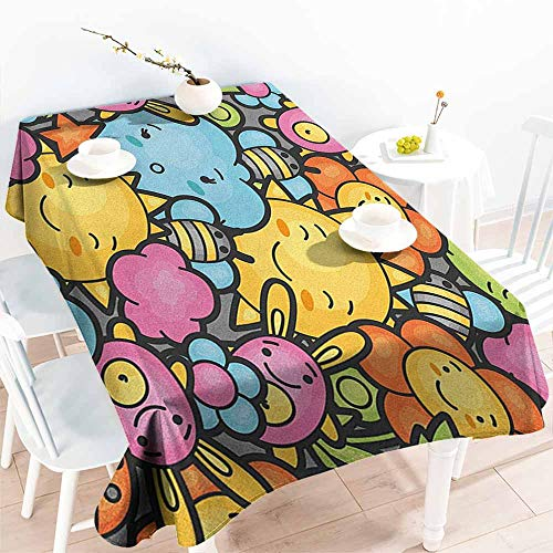 EwaskyOnline Water Resistant Table Cloth,Nursery Cute Cartoon Characters Happy Sun Bunnies Trees Bugs Clouds Bees Kawai Art Design,Dinner Picnic Table Cloth Home Decoration,W54x90L, Multicolor]()