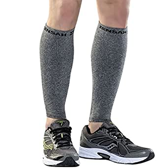 Zensah Compression Leg Sleeves, Heather Grey, X-Small/Small