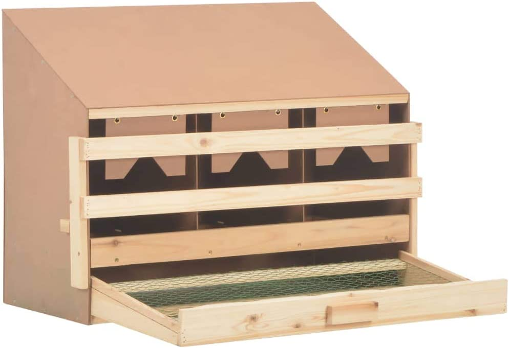 Laying Nest Laying Nest for Chicken 3 Compartments Solid Pine Wood Chicken Laying Nest 72x33x54cm