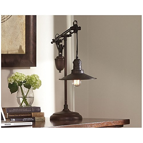 Ashley Furniture Signature Design - Kylen Desk Lamp with Metal Shade with in-Line Switch - Industrial - Bronze Finish by Signature Design by Ashley (Image #4)