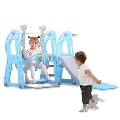 Slide And Swing Combination Playground Small Children Multifunctional Toys Toddler Climber And Swing Set, 3 In 1 Climber Sliding Playset W / Basketball Hoop (Blue With Ball Frame And Ball And Pedals): Toys & Games