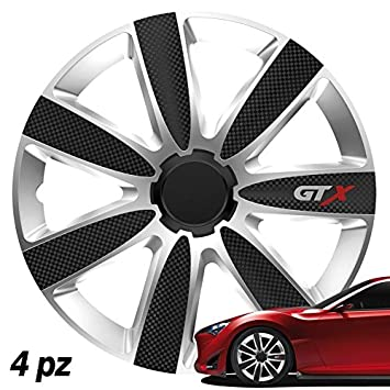 Tapacubos universales de 15 d-gear GTX Carbon Plata: Amazon ...