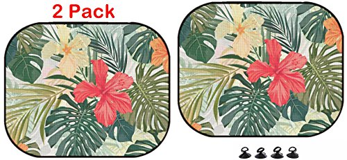 Luxlady Inc. Luxlady Car Sun Shade Protector Block Damaging UV Rays Sunlight Heat for All Vehicles, 2 Pack ID: 40489664 Summer Colorful Hawaiian Seamless Pattern with Tropical Plants and price tips cheap