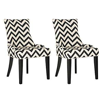 Safavieh Mercer Collection Lester 19 Black & White Chevron Dining Chair