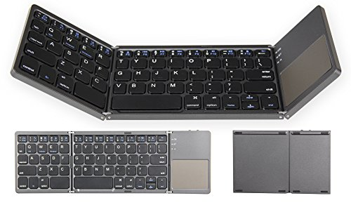 YHLCSQ Folding Bluetooth Keyboard for Tablet Samsung Smartphone Portable BT Wireless Foldable Mini Keyboard with Touchpad for Android TV Box,PC,Kindle Tablet,Travel, Dark Gray Best Valentine's Day (Keyboard Ipad Arabic)